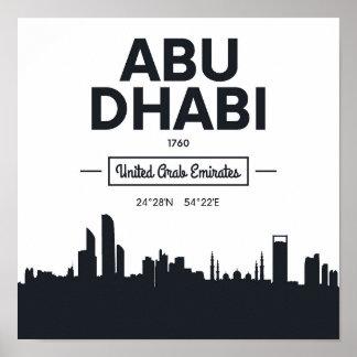 Poster Coordonnées noires et blanches de ville d'Abu