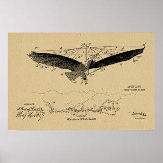 Poster Copie 1908 d'art de dessin de brevet d'aile de vol