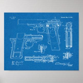 Poster Copie 1916 de dessin d'art de brevet d'arme à feu