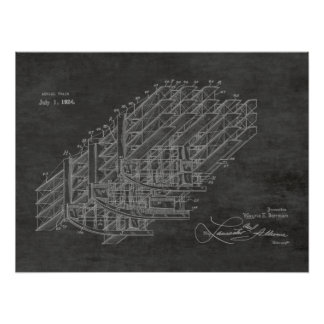 Poster Copie 1924 de dessin d'art de brevet de train