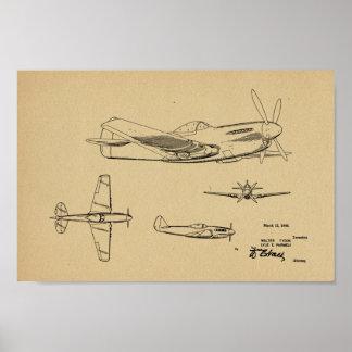 Poster Copie 1946 de dessin d'art de brevet d'avion de