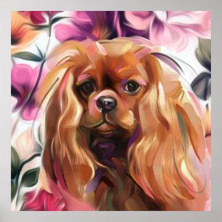 """Poster Copie cavalière """"rouge"""" d'art de chien sur le"""