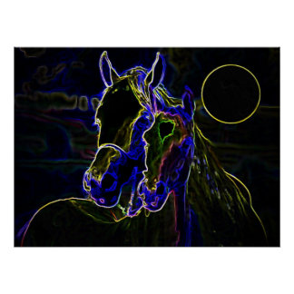 Poster Copie d'affiche de chevaux de Blacklight - affiche