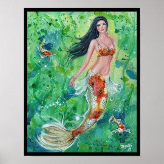 Poster Copie d'affiche de jardin de sirène de Koi par