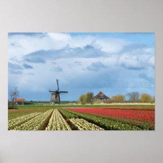 Poster Copie d'affiche de moulin à vent et de paysage de