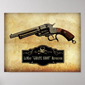 """Poster Copie d'arme à feu de revolver tirée """"par raisin"""""""