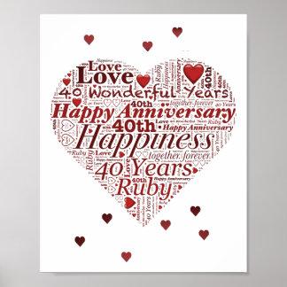 Poster Copie d'art de mot d'anniversaire de mariage de