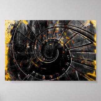 Poster Copie d'art de mur d'escalier - tornade en spirale