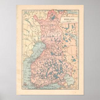 Poster Copie de carte du cru 1923 de la Finlande