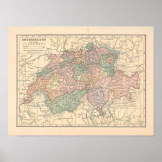 Poster Copie de carte du cru 1923 de la Suisse