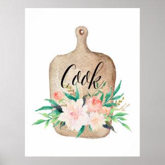Poster Copie de cuisine - cuisinier - aquarelle florale