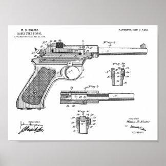Poster Copie de dessin d'art de brevet de canon à tir