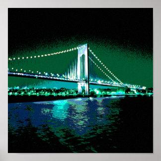 Poster Copie de pont de verts et de bleus