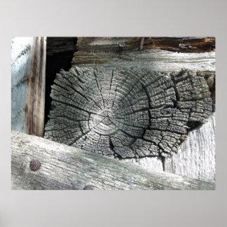 Poster Copie en bois vintage
