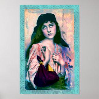 Poster Copie gitane de Bohème de fille