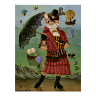 Poster Copie gothique d'art de portrait victorien de chat