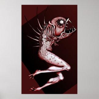Poster Copie inverse d'art de dessin de sirène