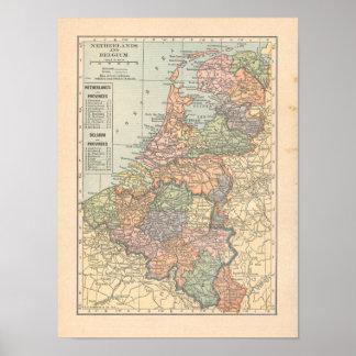 Poster Copie néerlandaise de carte du cru 1923 de la