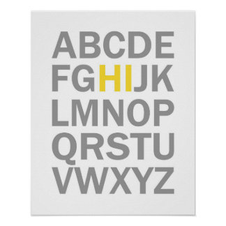 Poster Copie ou affiche de l'alphabet HI