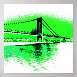 Poster Copie verte au néon d'étroits