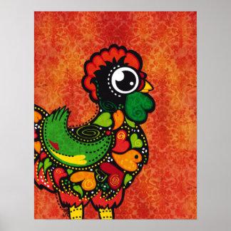 Poster Coq de Barcelos - arrière - plan vintage