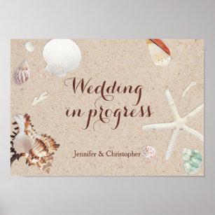 Poster Coquillages et mariage de plage d'étoiles de mer