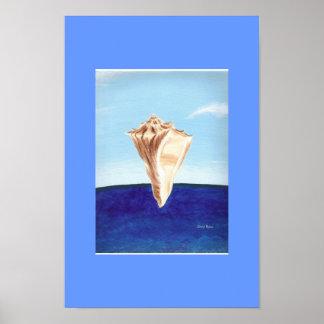 Poster Coquille de mer de conque et la peinture d'océan,