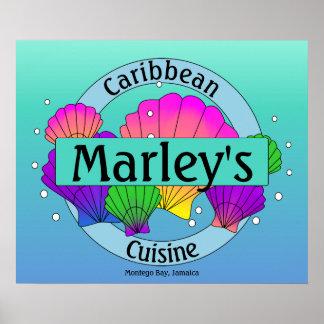 Poster Coquilles et bulles des Caraïbes de mer de cuisine