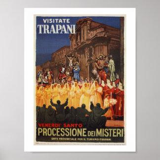 Poster Cortège chrétien Trapani de Pâques de voyage