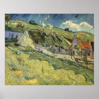 Poster Cottages couverts de chaume par Vincent van Gogh
