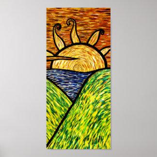 Poster Coucher du soleil abstrait coloré