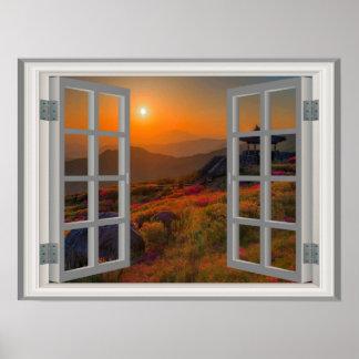 Poster Coucher du soleil coréen d'automne de vue de