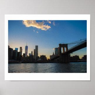 Poster Coucher du soleil de pont de Brooklyn d'été