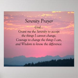 Poster Coucher du soleil de rose de prière de sérénité