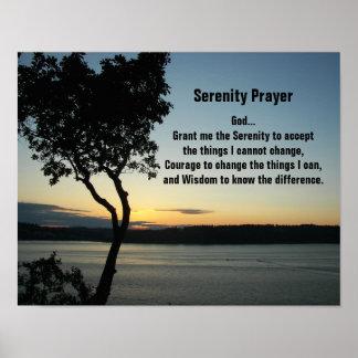 Poster Coucher du soleil de soirée de prière de sérénité