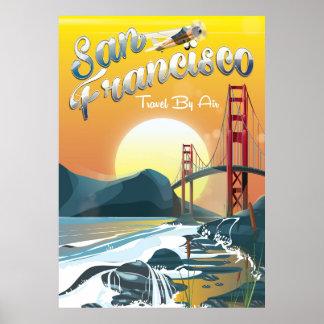 Poster Coucher du soleil d'or par air de San Fransisco