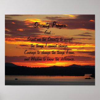 Poster Coucher du soleil d'orange de prière de sérénité