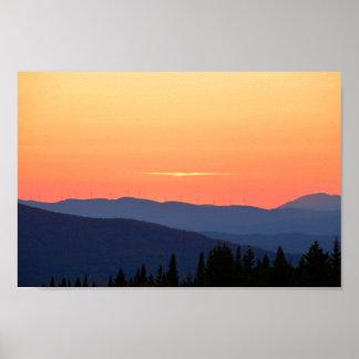 Poster Coucher du soleil du Vermont avec des turbines de