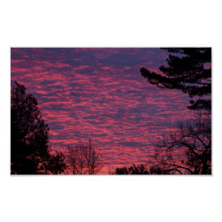Poster coucher du soleil Rouge-violet