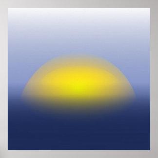 Poster Coucher du soleil sur la copie de l'eau