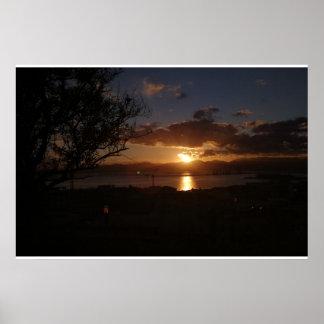 Poster coucher du soleil sur la mer de Cagliari
