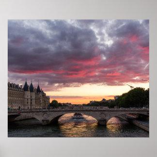 Poster Coucher du soleil sur l'affiche de la Seine
