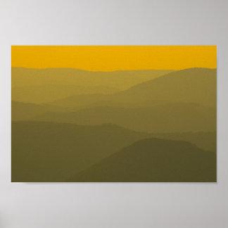 Poster Coucher du soleil sur l'Alleghenies, la Virginie