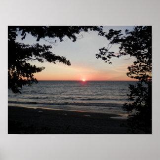 Poster Coucher du soleil sur le lac