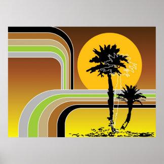 Poster Coucher du soleil tropical de plage de palmiers le