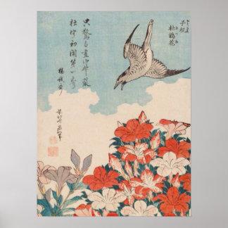 Poster Coucou de Hokusai et cru GalleryHD d'azalées