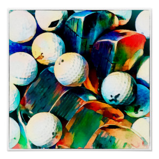 Poster Couleur pour aquarelle de golf - copie d'art
