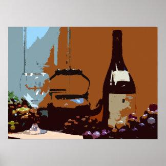 Poster Couleurs de terre de vin et d'affiche d'art de
