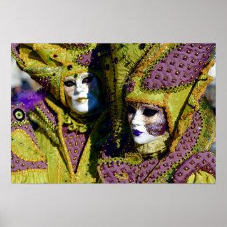 Poster Couples vénitiens colorés