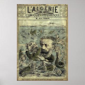 Poster Couverture périodique vintage de Jules Verne